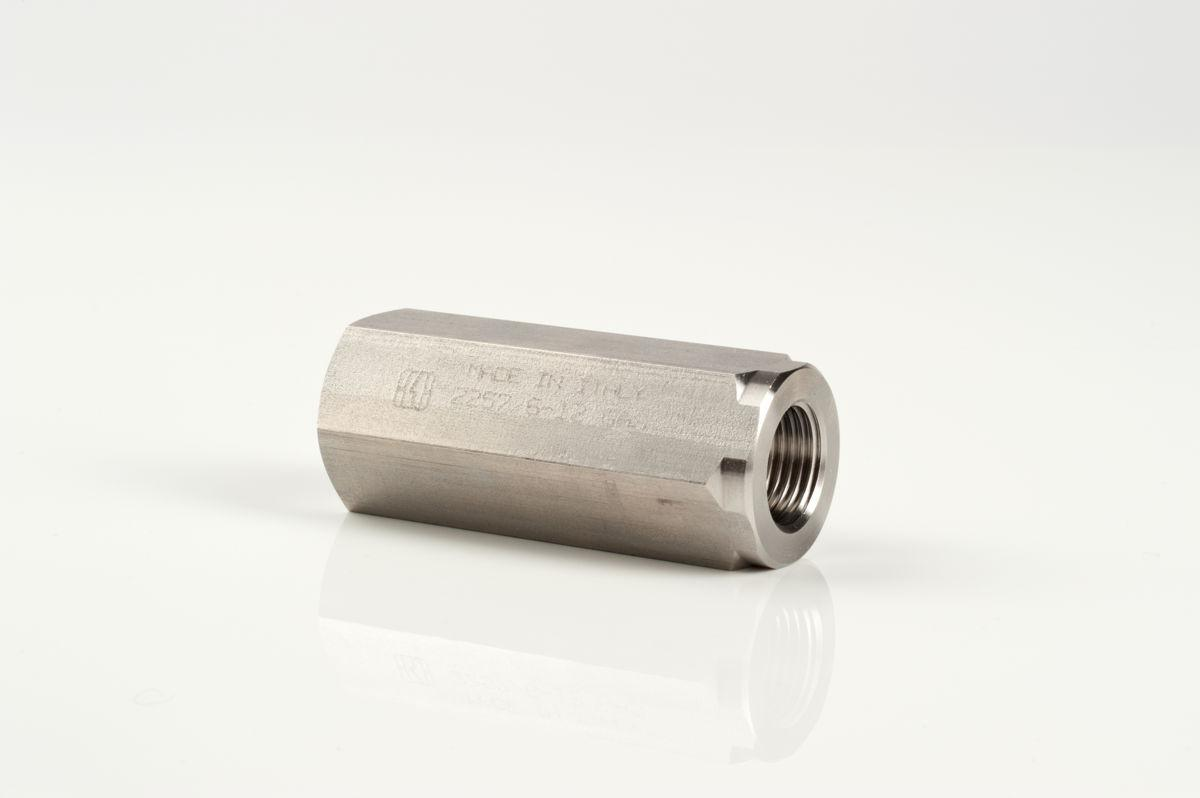 In line stainless steel piston check valves