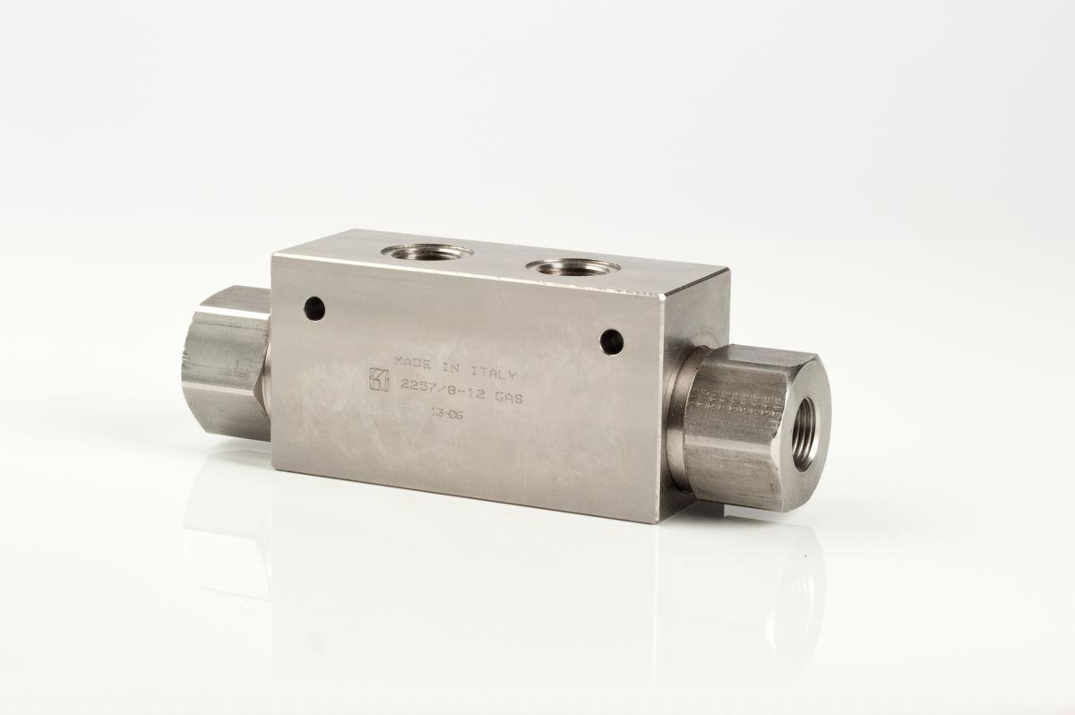 In line stainless steel double-pilot check valves