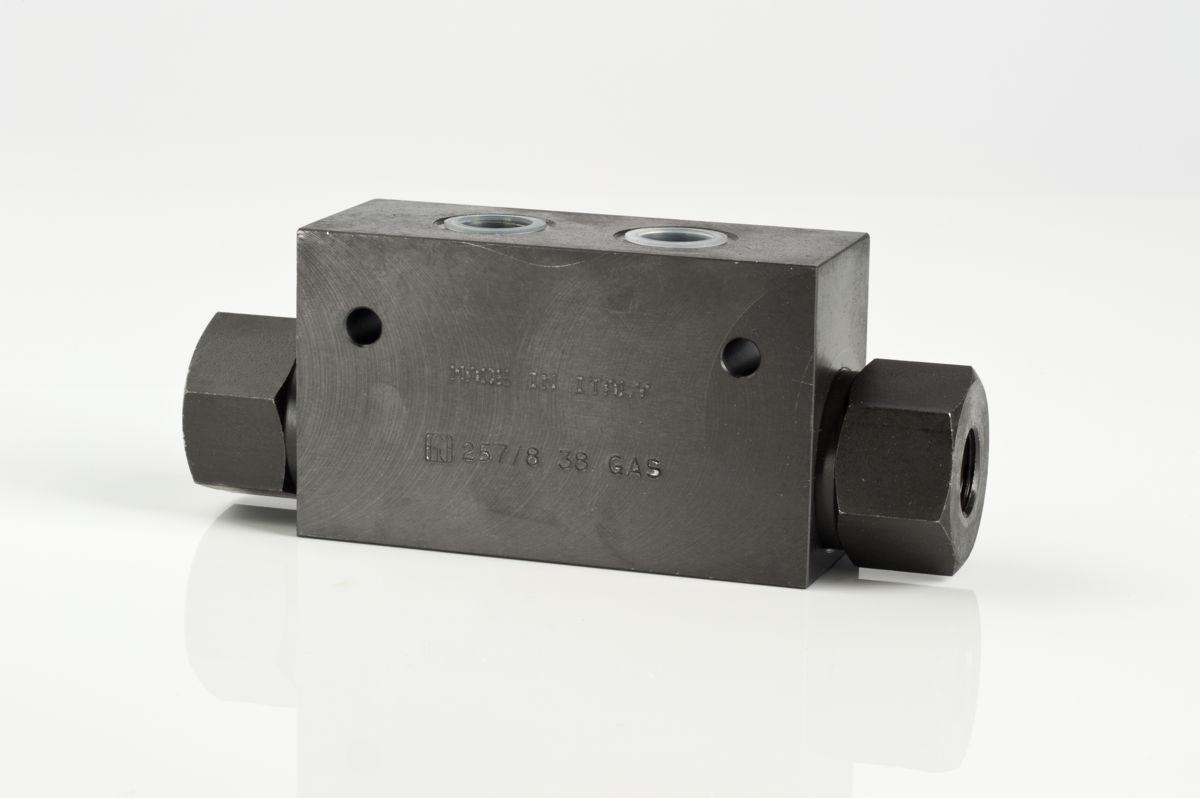 In line carbon steel double-pilot check valves